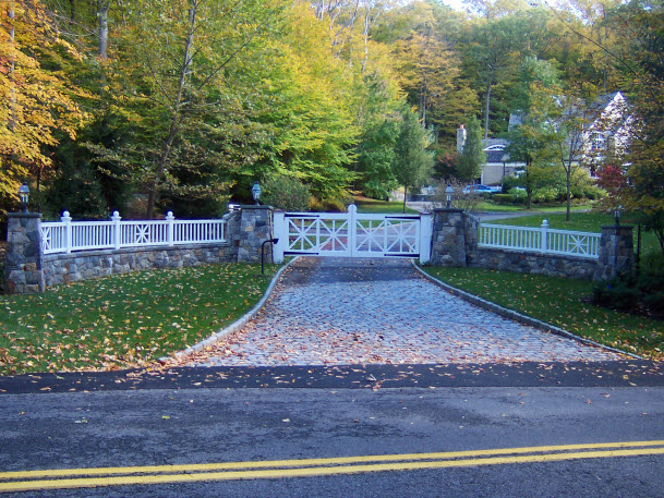 Front Gate with Stone Wall