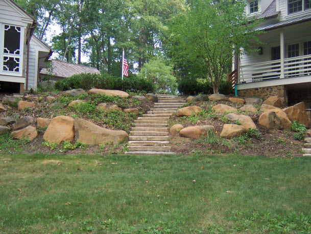 stone steps hardscape design | DeWane Landscape and Design