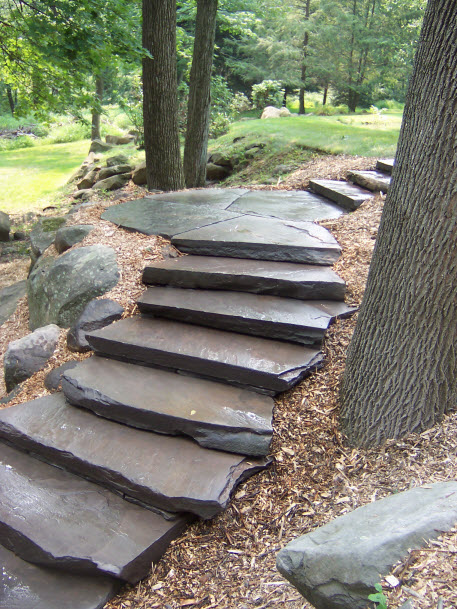 outdoor stone steps hardscape | DeWane Landscape and Design