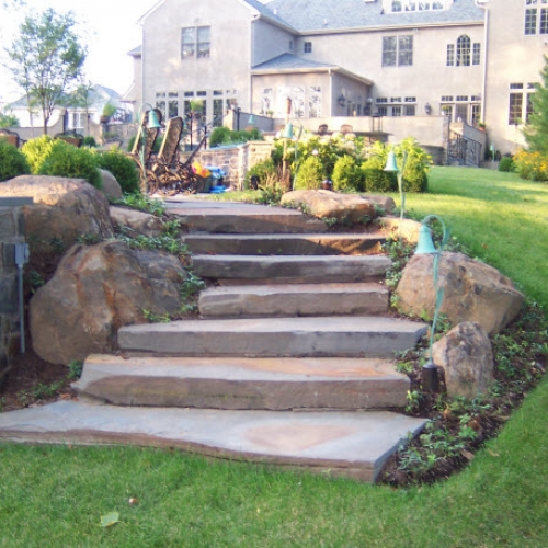 stone step hardscape | DeWane Landscape and Design