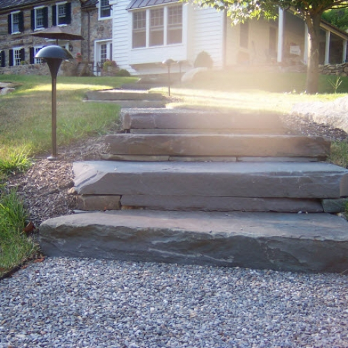 outdoor stone steps | DeWane Landscape and Design